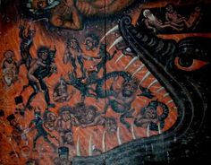 The Gates of Hell part of a century triptych that was made for a nuns monarstery. Depiction of Hell- Vladimer Shioshvili. Hell- Dieric Bouts, A Persian depiction of Dungeons And Dragons, The Last Judgment, Cro Magnon, Gates Of Hell, Fra Angelico, Medieval Paintings, Novelty Hats, Letting Go Of Him, Ancient Aliens