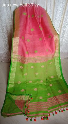 Pure Lenin Sarees With Butti Design Cotton Saree Blouse Designs, Half Saree Designs, Silk Cotton Sarees, Bridal Silk Saree, Organza Saree, Saree Wedding, Fancy Sarees, Party Wear Sarees, Latest Silk Sarees