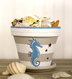 Coastal Decor, Beach & Nautical Decor, Crafts & Shopping: Coastal Beach Paint Craft Projects by Decoart Flower Pot Art, Clay Flower Pots, Flower Pot Crafts, Clay Pot Projects, Clay Pot Crafts, Craft Projects, Painted Clay Pots, Painted Flower Pots, Seashell Crafts