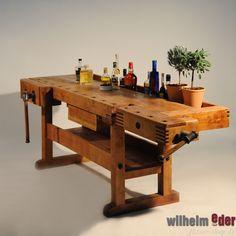 Alte Hobelbänke - Werkbänke in neuem Design Gefunden in alten Küferwerkstätten, liebevoll aufgearbeitet und hergerichtet als Bar, Blumenampel, dekorative Ablage, Möbelstück oder einfach nur...