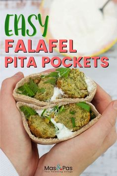 These easy falafel pitta pockets are simple to make and are a nutritious meal too. Falafel Pita, Falafel Recipe, Lunch Box Recipes, Wrap Recipes, Kid Recipes, Vegetarian Kids, Vegetarian Recipes Easy, Healthy Meals For Kids, Kids Meals