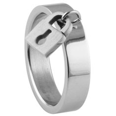 316L stainless steel ring with shiny polish and dangling lock charm: Jewelry: Amazon.com