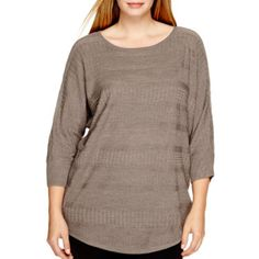 a.n.a® 3/4-Sleeve Textured Sweater - Plus - JCPenney