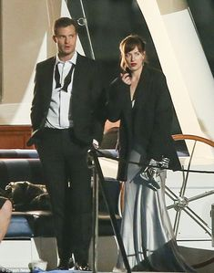 Fifty Shades Darker, April 27/16 - Coal Harbour, On a boat:Dakota Johnson and Jamie Dornan were spotted on a luxury yacht in Vancouver, Ca...