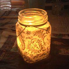 mod podge ideas | Jar, tissue paper, shimmer mod podge, candle. | craft ideas