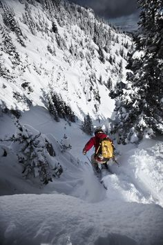 A telemark skier jumping into a narrow chute in Bridger Bowl, Montana. Alpine Skiing, Snow Skiing, Ski Ski, Snowboards, Ski Freeride, Ski Racing, Escalade, Ski Season, Kayak
