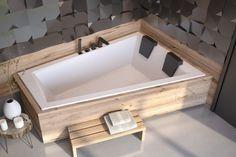 Small Bathroom, Bathroom Interior, Bathroom Sanitary, New Homes, Chic Bathrooms, Bad Design, Glass Shelves In Bathroom, Corner Bathtub Shower, Japanese Bath House