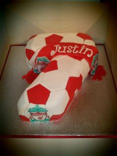 Number 7 Liverpool FC Cake - Number 7 vanilla cake covered in football patches with the Liverpoll FC Crest