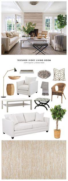 Copy Cat Chic Room Redo | Textured Ivory Living Room