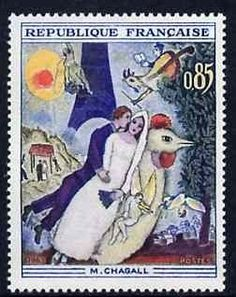 France Stamp - The Married Couple of the Eiffel Tower (by Marc Chagall)