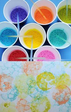 Esta actividad consiste en hacer burbujas en una taza llena de pintura, agua y jabón líquido. Colocar el papel sobre las burbujas y hacer que se estampe presionando el papel sobre él. Repetirlo para formar patrones abstractos circulares como los de arriba.