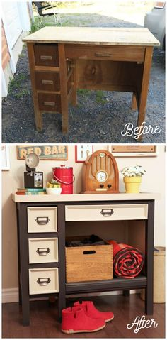 Before and After old desk makeover. I like that they added a shelf for the unused space.