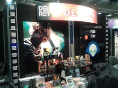 Del Rey booth at San Diego Comic Con with a nice display of the Iron Druid Chronicles.