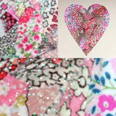 Liberty fabric heart  #libertyfabric #pinkflowers #fabriccollage