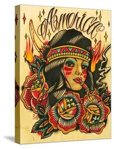 'Indian Girl' Stretched Canvas Print - Lil Chris | Art.com Scars Tattoo Cover Up, Retro Tattoos, Painting Edges, Modern Retro, Tattoo Sketches, Stretched Canvas Prints, Body Art Tattoos, Find Art, Custom Framing