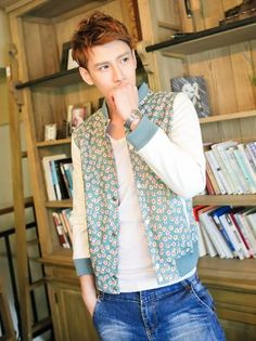 Mens Jackets Coats Korean Style Men Floral Print Fitted Jacket Coat  Discount Online Shopping