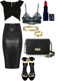 Perfect black top and pencil lether skirt! Soo fancy and sexy-looking, it's perfect for a date!