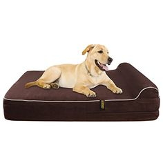 Extra Large 7 Thick Orthopedic Memory Foam Dog Bed With 3 Pillow Includes Waterproof Inner Protector Dark Chocolate Color XL ** To view further for this item, visit the image link. (This is an affiliate link) Big Dogs, Large Dogs, Small Dogs, Best Orthopedic Dog Bed, Memory Foam, Dog Cots, Dog Pillow Bed, Cool Dog Beds, Cool Dogs