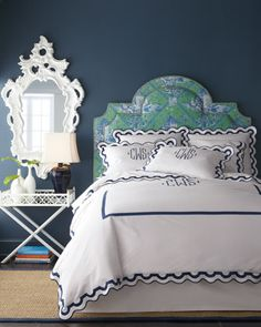 Gorgeous toile headboard and monogrammed bedding. love!