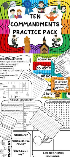 This TEN COMMANDMENTS PRACTICE PACK contains more than 90 pages that will help your kids memorize and understand the TEN COMMANDMENTS through a variety of methods. The 18 different activities were designed in such a way that you can use each one for every student or select certain ones for specific students.   This TEN COMMANDMENTS Practice Pack includes: Posters, Flash Cards, BINGO, Memory Match, Flip Books, Coloring/Drawing, Text Passages, Writing Prompts, and more!