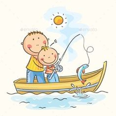 Father and son in the boat, fishing