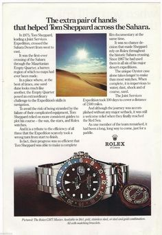 1979 Rolex GMT Master Watch Vintage Print Page Ad Tom Sheppard Sahara. Discover more at elevenjames.com/watches/56215888343878160018d510