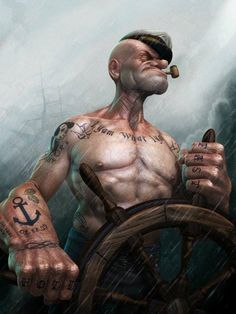 Popeye | 15 Cartoon Characters In Real Life | CELEBRITIES - ahfunny
