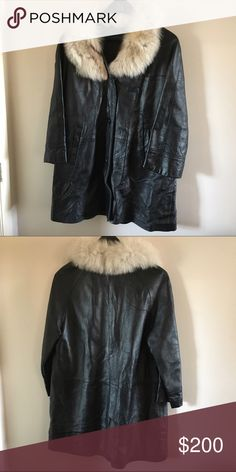 Black Leather Jacket with Fur Collar This jacket doesn't have any tags but I would say it's around a size 14/16. My grandmother bought it years ago for $300. Jackets & Coats