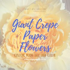 I'm totally using these at my wedding one day! Custom made crepe paper flowers Crepe Paper Flowers, Paper Art, Crafty, Day, Projects, Handmade, Wedding, Log Projects, Valentines Day Weddings