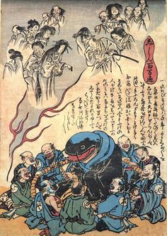 "The earthquake and a ""million prayers"" [+]    This print depicts a namazu as a priest seated inside a giant rosary. The creature does not want to cause any more earthquakes, but the ""worshipers"" -- tradesmen such as lumber dealers and carpenters who profit from the disaster -- are praying for it to act up again. The ghosts of earthquake victims float overhead."