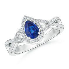 Angara Diamond Framed Halo Blue Sapphire Ring in Platinum oCT2b