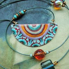 Crochet Necklace, Enamel, Copper, Jewelry, Fashion, Moda, Vitreous Enamel, Jewlery, Jewerly