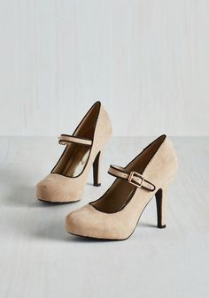 Balcony Believer Heel in Biscuit. For a panorama partisan, a landscape lover, and a skyline supporter like yourself, clicking these beige Mary Janes onto the terrace is an honor. #tan #wedding #modcloth