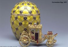 Video includes Fabergé Coronation egg ^ 1897. Gift from Nicholas II to Alexandra Feodorovna. Height 12.7 cm.     More photos: http://www.wintraecken.nl/mieks/faberge/eggs/1897-Coronation-Egg.htm  Image Source: http://www.faberge.com/news/49_imperial-eggs.aspx