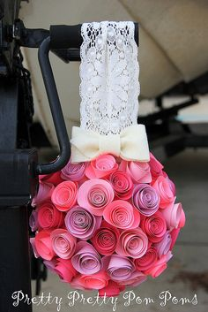 Wedding Decoration Paper Flower Kissing Balls Pomander - Pick your colors - Nursery Decoration. Or, this would be easy to make yourself. Styrofoam ball, with paper roses. Wedding Paper, Diy Wedding, Dream Wedding, Wedding Day, Wedding Photos, Diy Flowers, Fabric Flowers, Wedding Flowers, White Flowers