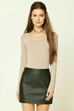 c6974634b  fashion  skirts  tops Leather Mini Skirts