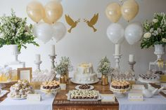 Create your perfect party with various decorations like the picture below!Choose from some of plain and themed birthday party decorations including banners, bunting, paper decorations, pom poms,baloon and more. Baptism Dessert Table, Baptism Desserts, Communion Party Favors, Baptism Party Favors, Christening Party, Baptism Party Decorations, First Communion Decorations, Communion Centerpieces, First Holy Communion Cake