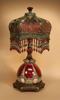 ~ French Barbotine Ceramic Table Lamp With Hand Beaded Fringe ~