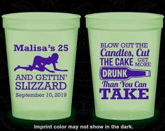 25th Birthday Glow in the Dark Cups, Stripper, Blow out candles, cut cake, get drunk, Glow Birthday Party (20102)