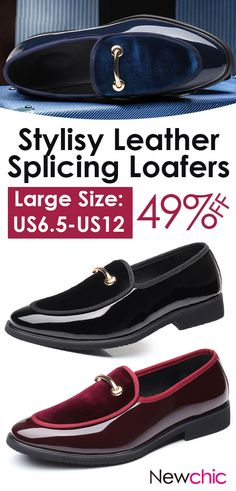 fc8c69e985275d  49%off Large Size Men Leather Splicing Slip On Formal Dress Shoes