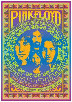 PINK FLOYD Concert Poster, April 30 1977, Houston, Texas, USA