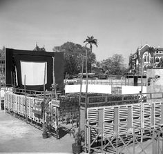 Photo Studio/Feb.52,A14f  A view of the open air theatre erected in Bombay in connection with the International Film Festival. Photo Division #bollywoodirect #bollywood #filmfestival #rarepic