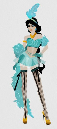 Jasmine - If Disney Princesses Were Burlesque Showgirls The show must go on. The designs of artist Madhanz would make some gorgeous Moulin Rouge costumes.