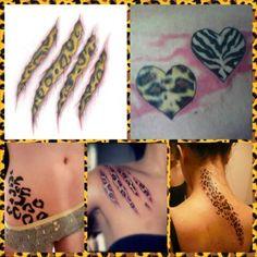 Animal print tattoo ideas.  leopardprint, tattoo, animalprint, cheetahs print, zebra print. I want the middle bottom.