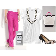 Black, White and Pink, created by #elena-rose on #polyvore. #fashion #style Kate Spade