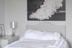 White Bedroom Ideas that are Easy to Copy and tips! Beautiful Sacha painting called Kyra Alanova