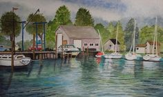 Pentwater, Michigan marina, watercolor from my photo, 10x12 ©DebraLPate, 02.16.15 Available.