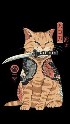 Japon Illustration, Botanical Illustration, Samurai Artwork, Arte Obscura, Japanese Cat, Japanese Tattoo Art, Arte Sketchbook, Cute Poster, Poster Prints