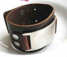 Brown Real Leather and Metal Snapper Buckle Men Leather Wristband Cuff Bracelet Unisex bracelet  SL0059 - $53nok (24)