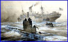 Willy Stöwer Le sous-marin U.21 coule le cargo Linda Blanche dans la baie de Liverpool, 30 janvier 1915.jpg